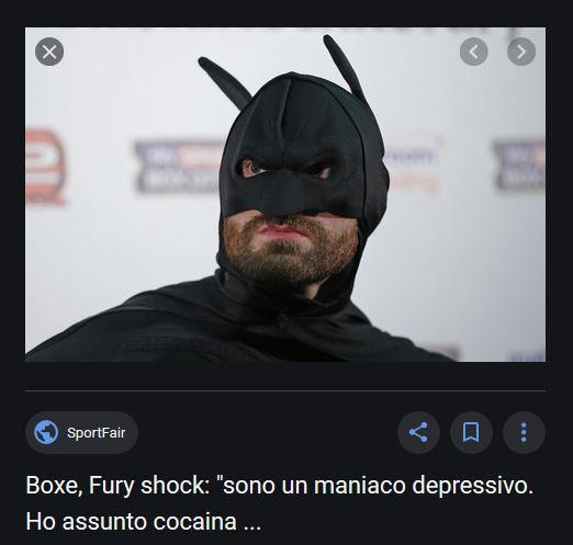 Tyson Fury maniaco depressivo cocaina